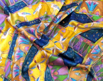 Batik shawl ''Egyptian murals'' hand-painted on silk. Silk scarf.hand painted scarves Batik Shawl Handmade Scarves.Made to order