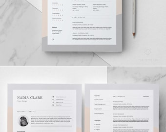 Resume Template For MS Word _ Elegant Resume Design _ 3 Page CV Template _  Feminine