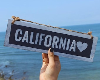 California Love Wood Sign / California Sign / Beach Sign / Beach House Decor / Bohemian Decor / Bohemian Wall Art / Hippie Decor - Navy Blue