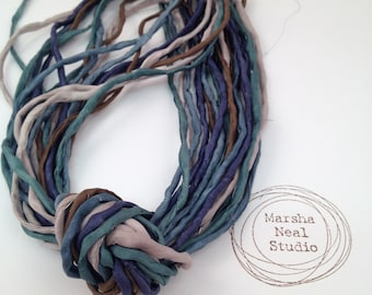Hand Dyed Silk Ribbon - Silk Cord - DIY Crafts - Jewelry Supplies - Wrap Bracelet - Craft Supplies - 2mm Silk Cord Strands Evening Forest