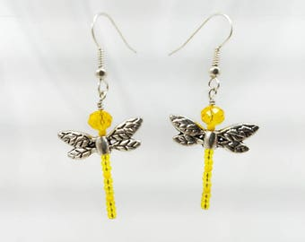 Dragonfly crystal earrings yellow
