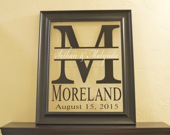 """Personalized Family Name Sign Picture Frame Wall Sign - 17"""" x 14"""""""