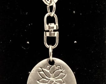 Yoga Girl/Do it with passion - key ring pewter perfect for Yoga Lovers. Hand stamped both sides.