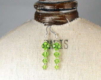SALE! spring green crystal and silver earrings for bridesmaid.spring wedding.handcrafted earrings