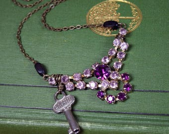 Vintage Purple Rhinestone and Key Necklace Repurposed Upcycled Steampunk Jewelry