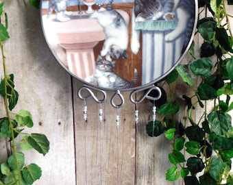 Naughty Kitties Collectible Plate Wind Chime with Stained Glass Chimes
