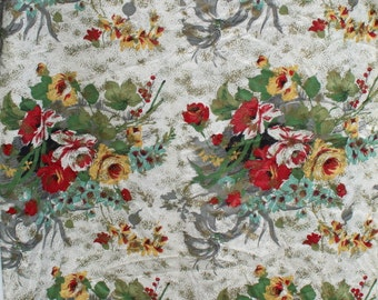 Vintage Barkcloth Fabric by the Yard, Red Green Blue Gold Rose Flower, Floral Drapery Curtain Pillow Bark Cloth Fabric BTY Yardage