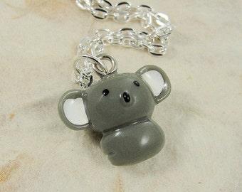 Little Koala Bear Necklace, Resin Koala Bear Charm on a Silver Cable Chain