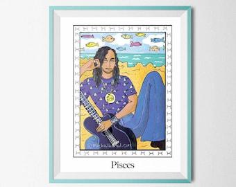 Zodiac pisces man ,Man zodiac pisces print, Man Pisces print, Man pisces digital download, Man pisces wall art,Pisces Zodiac Sign