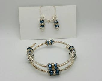 Blue and silver bracelet and earrings  (JS024)