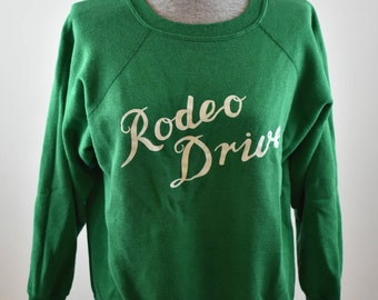 Vintage Rodeo Drive Green Sweatshirt Beverly Hills California