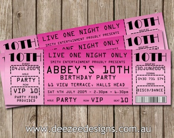 Concert Ticket Style Birthday Invitations - You Print