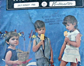 Sweater Machine Knitting Patterns Babies and Toddlers Modern Knitting July August 1966 Sunsuit Children Vintage Paper Original NOT a PDF
