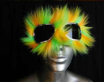 Orange Yellow and Lime Sherbet Furry Monster Dust Goggles   Great fur Burning Man!  - Furry Aviator Goggles - Lime Fur Motorcycle Goggles