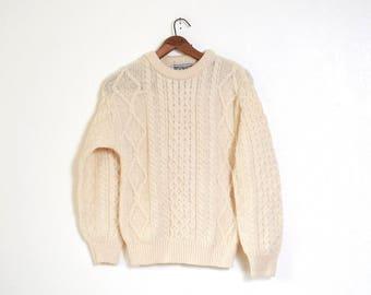 Beautiful Vintage Wool Irish Fisherman Sweater Aran authentic Hand Knit fisherman cable knit jumper Extra Small Aran Irish Honeycomb Celtic