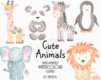 Watercolor Animals Clipart, Commercial Use, Watercolor Clipart, Cute Animals Clipart, Watercolor Animals Clip Art, Hand-Painted Clipart