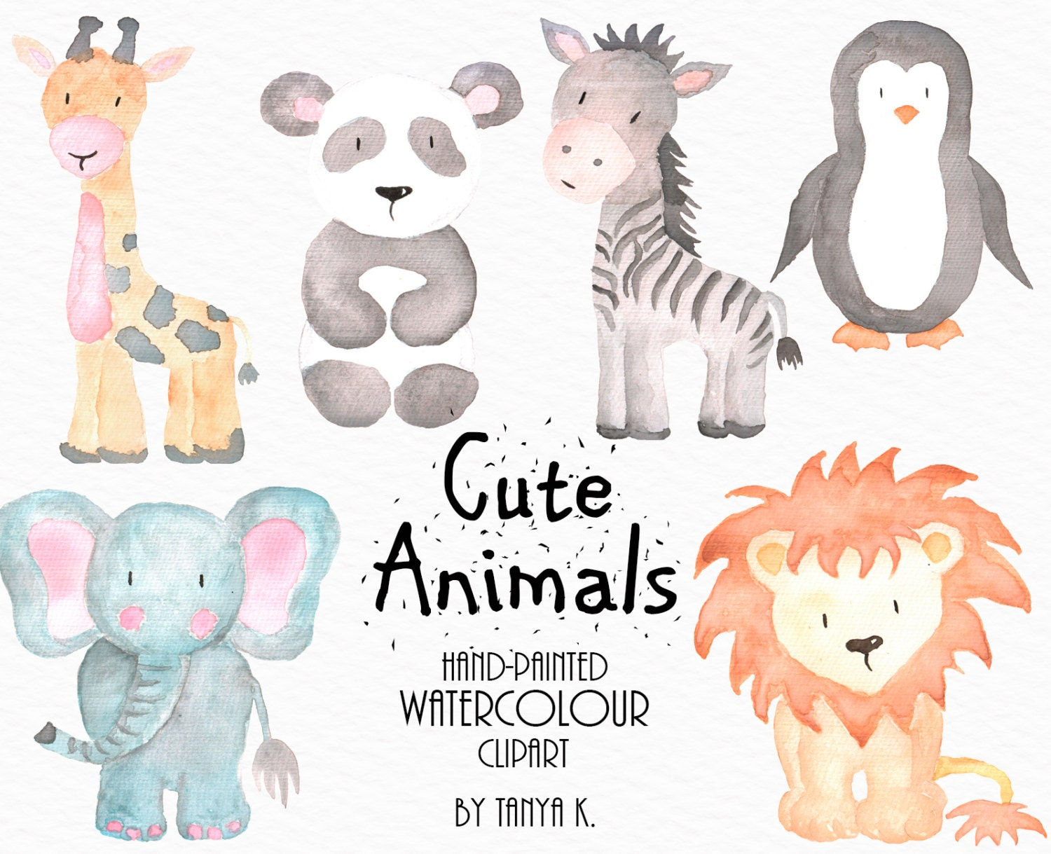 Watercolor Animals Clipart Commercial Use Watercolor