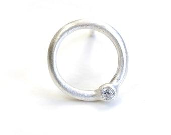 Silver Diamond Earrings, Diamond Studs, Sterling Diamond Studs, Diamond Earrings, Round Silver Studs, Circle Diamond Studs, Nixin