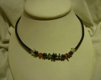 C11 Vintage Hematite, Jade and Amber Necklace.