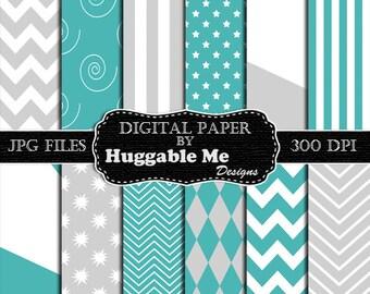 Digital Scrapbook Paper, Teal Paper, Gray Paper, Digital Paper Pack, Instant Download - HMD00113
