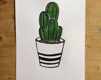 Cactus Lino Print
