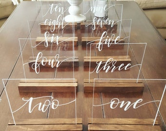 Rustic wedding decor etsy acrylic table numbers wedding table numbers glass signs plexiglass wedding signs rustic junglespirit Image collections