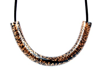 Copper and Black Statement Necklace, Black Curve Necklace, Copper Necklace, Black and Copper Bib Necklace, Black and Copper Curve Necklace