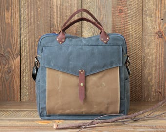 Extra Large Grey Wax Canvas Convertible Diaper Bag, one pocket in sage. Convertible Weekender,