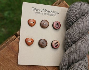 SALE! 6 Mixed Wood Buttons- Mixed Woods- Wooden Buttons- Eco Craft Supplies, Eco Knitting Supplies, Eco Sewing Supplies