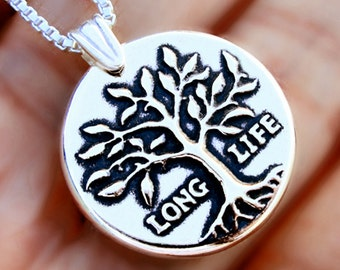 C1 -9, Anniversary Tree of Life necklace Sterling Silver jewelry Long life Silver necklace Tree jewelry Tree necklace pendant gift  N-158