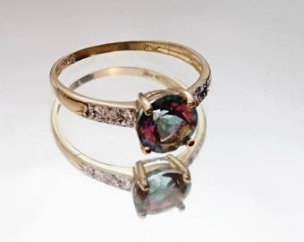 Beautiful vintage 9ct gold diamond and mystic topaz ring, mystic topaz ring, diamond set vintage ring, vintage gold ring