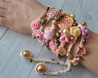 Bracelet Belt Necklace on the neck Hairband Beads Cord Cord for bronze Gift Jewelry Boho Flower Fashion Handmade Crochet