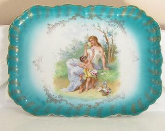 Antique Bavaria Porcelain Dresser Tray Cherub Goddess Blue