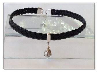 BDSM Day Collar, BDSM Collar, Submissive Collar, Discreet Day Collar, Slave Collar, Black Leather BDSM Pearl Necklace Collar Choker