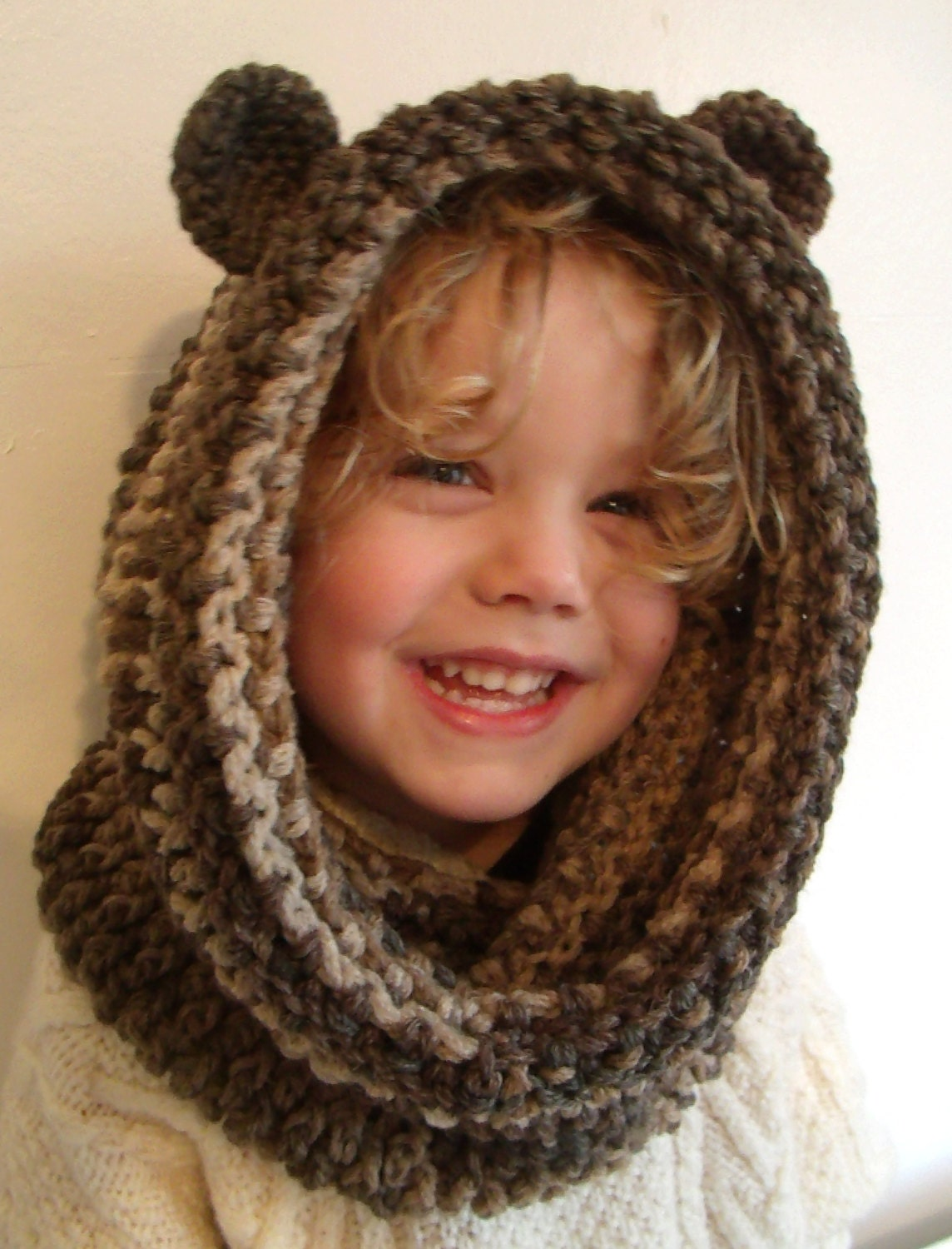 Crochet Bear Snood Hood with Ears INSTANT DOWNLOAD PDF from