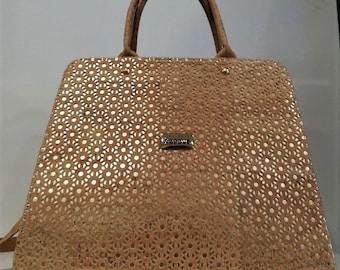 Natural Cork Handbag with Design - Fine Cork Bag - Cork Women Purse - Eco-friendly Shoulder Bag