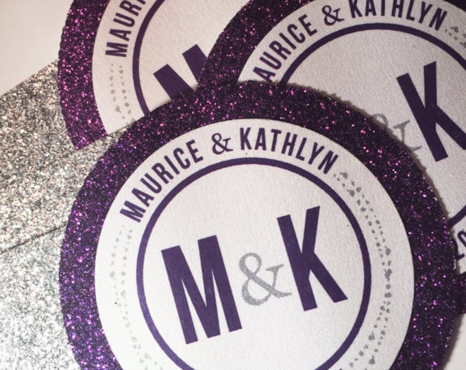 Round belly bands for glitter wedding invitation. Medallion round card, Elegant, Fancy and Chic wedding decor.