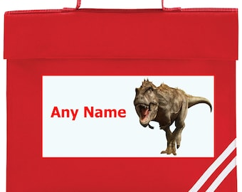Personalised T Rex/Dinosaur School Book Bag *Choice of colours*