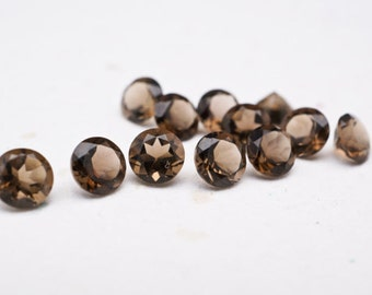 Smokey Quartz 5mm round cut perfect polished(20 PCS)