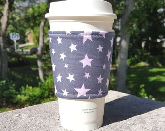 FREE SHIPPING UPGRADE with minimum -  Fabric coffee cozy / cup sleeve / coffee sleeve  / teacher gift / Pink Stars on Gray