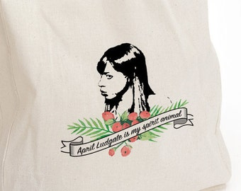 April Ludgate canvas tote, April Ludgate is my spirit animal, Parks and Recreation, parks and rec fan gift, birthday gift, canvas tote