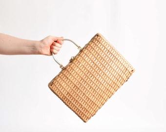 Vintage 1960s Wicker Tote 60s Natural Woven Handbag