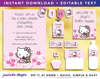 Baby Shower Party Printables / Invitation - INSTANT DOWNLOAD - Fully EDITABLE text