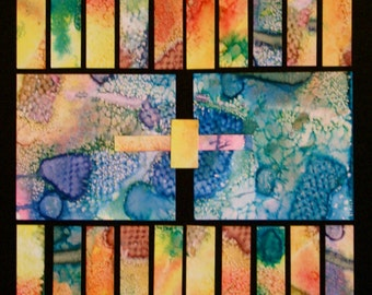 """Abstract Mixed Media Collage Piece - """"Musicbox"""""""