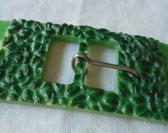 VINTAGE Texture Green Plastic Belt Buckle