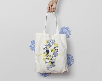 Tote bag MIMOSA / design cotton bag / purse flower / shopping bag / tote leather bag / light canvas tote bag / beach bag