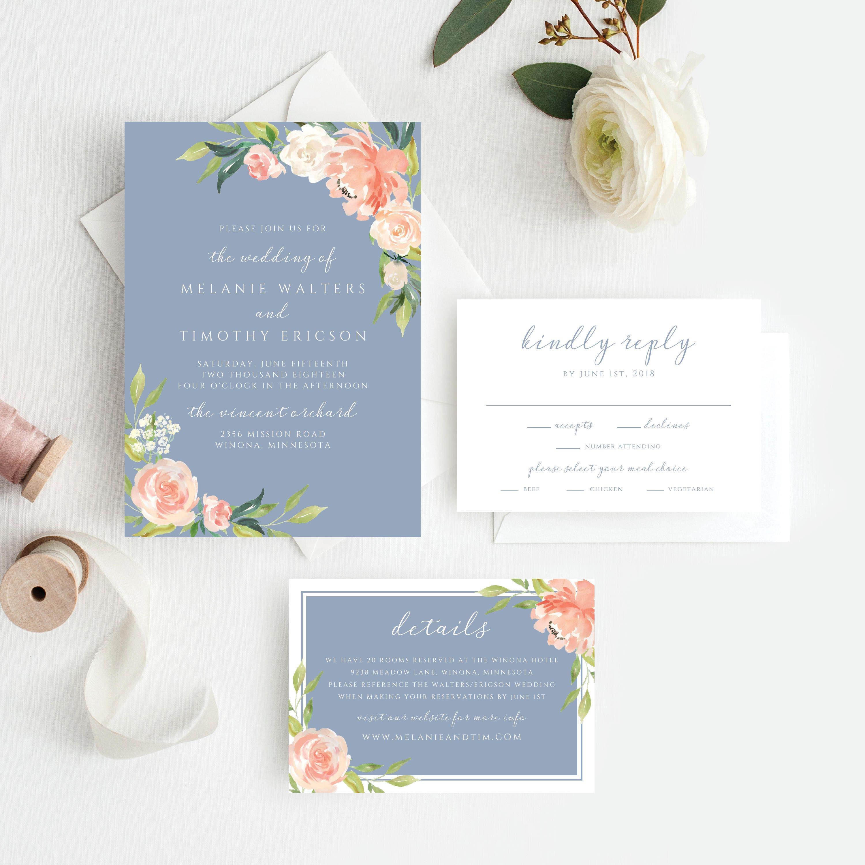 Dusty Blue Wedding Invitations Dusty Blue Wedding Invitation