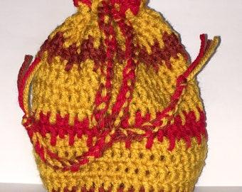 Red/Gold Drawstring Crochet Bag