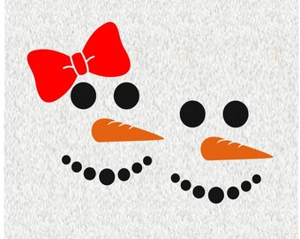 Cute Snowman Face; SVG, DXF, PS, Ai and Pdf Digital Files for Electronic Cutting Machines