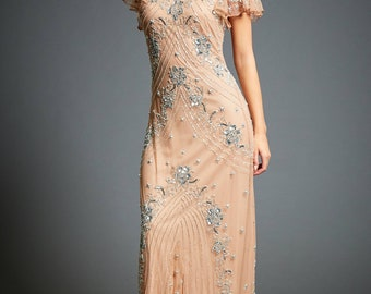 Lucy Embellished Flapper Dress, 1920s Great Gatsby Inspired, Floral Bridesmaid, Roaring 20s, Wedding Guest Dress, Evening Ball Gown, S-XXXL